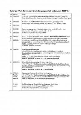 Terminplan für die KAOA-Aktivitäten Jg. 8