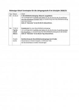 Terminplan für die KAOA-Aktivitäten Jg. 9