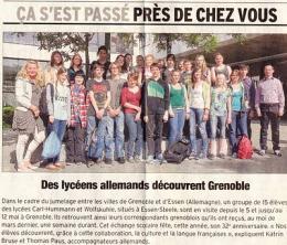 Zeitungsartikel Grenoble