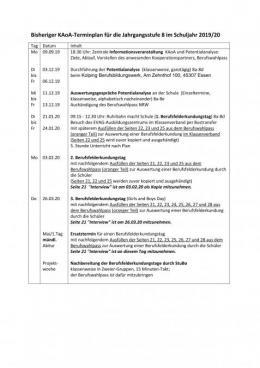 Terminplan für die KAOA-Aktivitäten