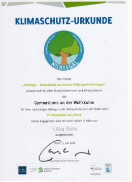 """Klimaschutzprämie der Stadt Essen für die WOKU: """"nich!egal (2018)"""""""